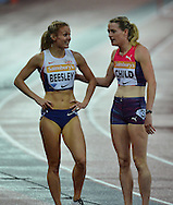 Great Britain's Eilidh Child and Meghan Beesley at the Sainsbury's Anniversary Games at the Queen Elizabeth II Olympic Park, London, United Kingdom on 24 July 2015. Photo by Mark Davies.