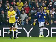Everton's Romelu Lukaku celebrates scoring his sides first goal during the Premier League match at Vicarage Road Stadium, London. Picture date December 10th, 2016 Pic David Klein/Sportimage