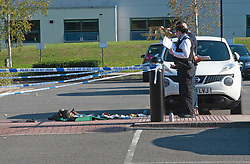 ©Licensed to London News Pictures 14/09/2020  <br /> Bromley, UK. First aid box and clothes on the ground in the car park. Police have cordoned off Bromley College in Bromley, South East London after reports of a stabbing outside. credit:Grant Falvey/LNP