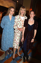 Left to right, MISS DAISY DE VILLENEUVE, JAN DE VILLENEUVE and MISS POPPY DE VILLENEUVE at the Harpers & Queen and Moet & Chandon Restaurant Awards for 2004 held at Claridges, Brook Street, London on 1st November 2004.<br />