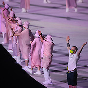 TOKYO, JAPAN - JULY 23: Australian team members pose for photographs during the Opening Ceremony for the Tokyo 2020 Summer Olympic Games at the Olympic Stadium on July 23, 2021 in Tokyo, Japan. (Photo by Tim Clayton/Corbis via Getty Images)