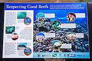 Coral reef interpretive sign, Kailua-Kona, Hawaii, USA