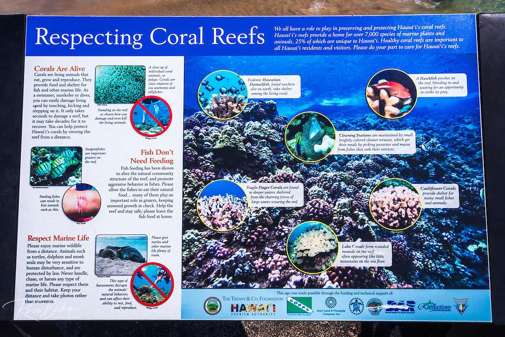 Coral reef interpretive sign, Kailua-Kona, Hawaii, USA