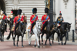© Licensed to London News Pictures. 08/06/2019. London, UK. Prince Charles (1L), Prince William (2L), Prince Andrew (1R) and Princess Anne (2R) depart from Buckingham Palace during the Trooping the Colour ceremony to mark Queen Elizabeth II's 93rd birthday. Photo credit: Ray Tang/LNP