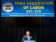 21 AUGUST 2019 - ALTOONA, IOWA: Governor STEVE BULLOCK (D-MT) addresses union at the Iowa Federation of Labor convention. Many of the Democratic presidential candidates are addressing the Iowa Federation of Labor convention at the Prairie Meadow Casino in Altoona. They are hoping to secure labor support before the Iowa Caucuses on Feb. 3, 2020.     PHOTO BY JACK KURTZ
