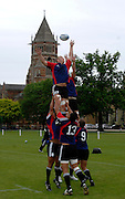 Photo: Richard Lane.<br /> New Zealand Maori training at Rugby School. Barclays Churchill Cup 2007. 21/05/2007. <br /> Maori's Angus MacDonald wins a lineout.