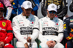 March 17, 2019 - Albert Park, VIC, U.S. - ALBERT PARK, VIC - MARCH 17: Mercedes-AMG Petronas Motorsport driver Lewis Hamilton (44) and Mercedes-AMG Petronas Motorsport driver Valtteri Bottas (77) at the drivers photo at The Australian Formula One Grand Prix on March 17, 2019, at The Melbourne Grand Prix Circuit in Albert Park, Australia. (Photo by Speed Media/Icon Sportswire) (Credit Image: © Steven Markham/Icon SMI via ZUMA Press)