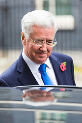 London, October 31 2017. Defence Secretary Michael Fallon leaves the weekly UK cabinet meeting at Downing Street. © Paul Davey