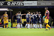 Southend United players celebrating third goal 3-0 during the EFL Sky Bet League 1 match between Southend United and Bradford City at Roots Hall, Southend, England on 19 November 2016. Photo by Matthew Redman.