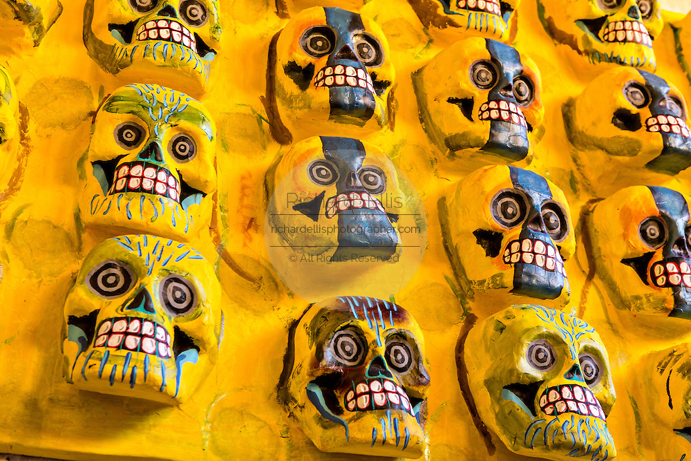 Skull decorations for the Day of the Dead Festival known in spanish as Día de Muertos on November 5, 2014 in Oaxaca, Mexico.