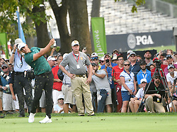 August 12, 2018 - St. Louis, Missouri, U.S. - ST. LOUIS, MO - AUGUST 12: Brooks Koepka hits his drive on the #18 hole during the final round of the PGA Championship on August 12, 2018, at Bellerive Country Club, St. Louis, MO.  (Photo by Keith Gillett/Icon Sportswire) (Credit Image: © Keith Gillett/Icon SMI via ZUMA Press)