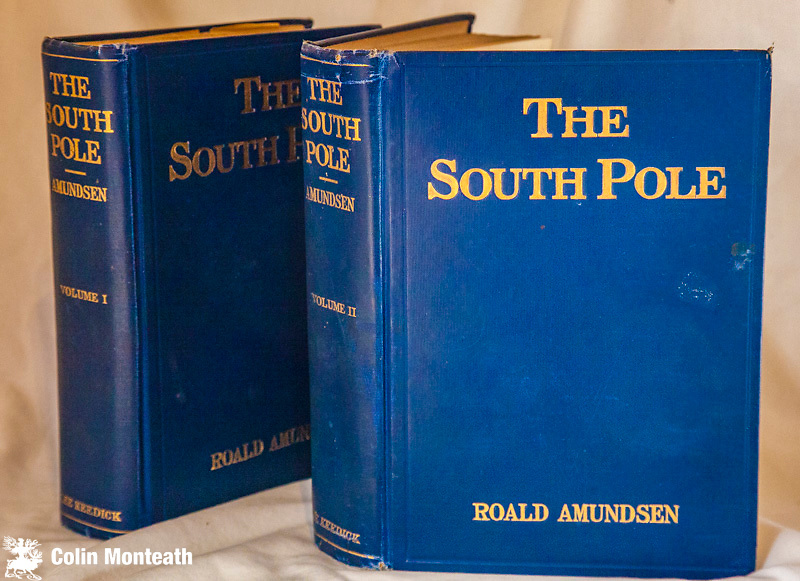 THE SOUTH POLE, Roald Amundsen, John Murray, London, Lee Keedrick New York, 1913,  1st US edn using pages from 1st John Murray UK edition., An account of the Norwegian Antarctic Expedition in the Fram 1910-1912., 2 vols each of 390 pages, in original bright blue cloth with gilt titles, some foxing, front hinges on both volumes starting (tighten up with new endpapers?) - profusely illustrated B&W plates,  three fold-out maps, one with minor closed tear, overall VG - classic account of Amundsen's journey to the South Geographic Pole - a must-have for any serious polar collection - $NZ2400 (Arnold Heine Collection)