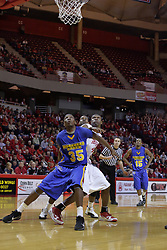 20 February 2010: Kenneth Faried blocks out Dinma Odiakosa as they wait for a bounding ball along the free throw lane. The Redbirds of Illinois State bust the Eagles of Morehead State in an ESPN Bracketbuster game 71-62 on Doug Collins Court inside Redbird Arena at Normal Illinois.