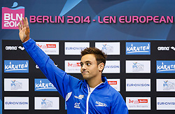Tom Daley of Great Britain celebrates on the podium after winning the Silver in the Mens 10m Platform Final - Photo mandatory by-line: Rogan Thomson/JMP - 07966 386802 - 23/08/2014 - SPORT - DIVING - Berlin, Germany - SSE im Europa-Sportpark - 32nd LEN European Swimming Championships 2014 - Day 11.