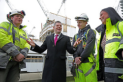 Finance Secretary Derek Mackay with apprentices at the St James Edinburgh construction site. pic copyright Terry Murden @edinburghelitemedia