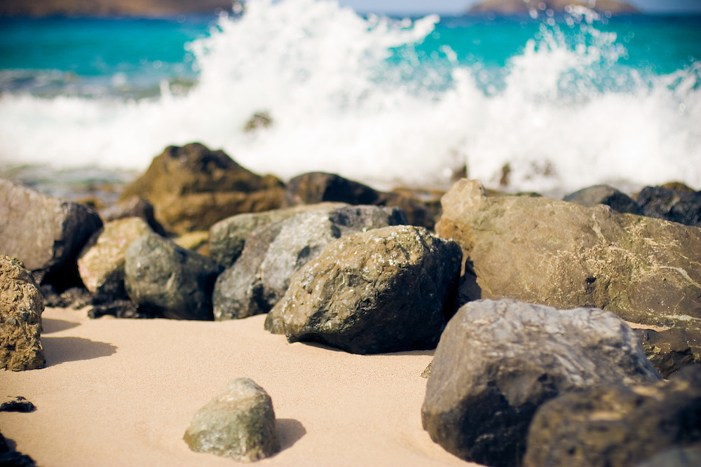 Wave crashing on rocks, Flamands Beach, St Barthelemy, French West Indies.
