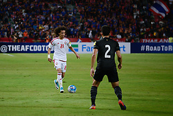 June 13, 2017 - Bangkok, Bangkok, Thailand - OMAR ABDULRAHMAN (L) of the UAE in action against Thailand's .Peerapat NOTECHAIYA (R) during the FIFA World Cup 2018 qualifying soccer match between Thailand and the United Arab Emirates at the Rajamangala stadium in Bangkok, Thailand, 13 June 2017. (Credit Image: © Anusak Laowilas/NurPhoto via ZUMA Press)