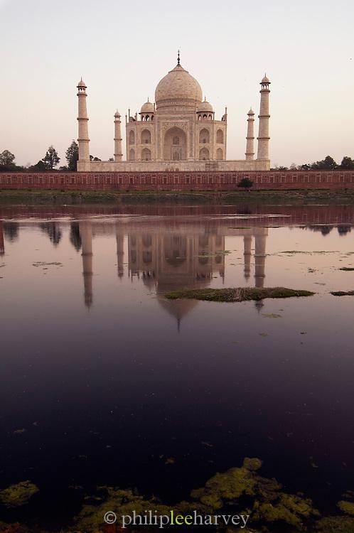 The Taj Mahal, a UNESCO World Heritage Site, over the Yamuna River, Agra, Uttar Pradesh, India