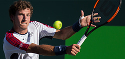 March 29, 2018 - Key Biscayne, Florida, United States - Pablo Carreno Busta, from Spain, in action against Kevin Anderson, from South Africa, during his quarter final match at the Miami Open in Key Biscayne in Miami, on March 29, 2018. (Credit Image: © Manuel Mazzanti/NurPhoto via ZUMA Press)