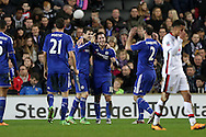 Oscar of Chelsea © celebrates after scoring his sides 3rd goal for his hat-trick  to make it 1-3. with Eden Hazard of Chelsea and Branislav Ivanovic of Chelsea. The Emirates FA cup, 4th round match, MK Dons v Chelsea at the Stadium MK in Milton Keynes on Sunday 31st January 2016.<br /> pic by John Patrick Fletcher, Andrew Orchard sports photography.