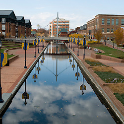 Frederick, Maryland - Carroll Creek, the narrow waterway bisecting downtown Frederick  is lined by a pedestrian park.  Photo by Susana Raab