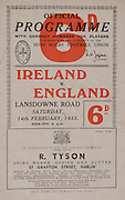 Irish Rugby Football Union, Ireland v England, Five Nations, Landsdowne Road, Dublin, Ireland, Saturday 14th February, 1953,.14.2.1953, 2.14.1953,..Referee- MR A W C Austin, Scottish Rugby Union, ..Score- Ireland 9 - 9 England, ..Irish Team,..R J Gregg, Wearing number 15 Irish jersey, Full Back, Queens University Rugby Football Club, Belfast, Northern Ireland,..M F Lane,  Wearing number 14 Irish jersey, Right wing, University college Cork Football Club, Cork, Ireland,  ..N J Henderson, Wearing number 13 Irish jersey, Right centre, N.I.F.C, Rugby Football Club, Belfast, Northern Ireland,..K Quinn, Wearing number 12 Irish jersey, Left Centre, Old Belvedere Rugby Football Club, Dublin, Ireland,  ..M Mortell, Wearing number 11 Irish jersey, Left wing, Bective Rangers Rugby Football Club, Dublin, Ireland,..J W Kyle, Wearing number 10 Irish jersey, Stand Off, Captain of the Irish team, N.I.F.C, Rugby Football Club, Belfast, Northern Ireland,..J A O'Meara, Wearing number 9 Irish jersey, Scrum, University college Cork Football Club, Cork, Ireland,  ..W A O'Neill, Wearing number 1 Irish jersey, Forward, University College Dublin Rugby Football Club, Dublin, Ireland, ..R Roe, Wearing number 2 Irish jersey, Forward, Dublin University Rugby Football Club, Dublin, Ireland,..F E Anderson, Wearing number 3 Irish jersey, Forward, Queens University Rugby Football Club, Belfast, Northern Ireland,..T E Reid, Wearing number 4 Irish jersey, Forward, Garryowen Rugby Football Club, Limerick, Ireland, ..J R Brady, Wearing number 5 Irish jersey, Forward, C I Y M S Rugby Football Club, Belfast, Northern Ireland, ..J S McCarthy, Wearing number 6 Irish jersey, Forward, Dolphin Rugby Football Club, Cork, Ireland, ..R Kavanagh, Wearing number 7 Irish jersey, Forward, University College Dublin Rugby Football Club, Dublin, Ireland,..W E Bell, Wearing number 8 Irish jersey, Forward, Collegians Rugby Football Club, Belfast, Northern Ireland,..Engish Team,..N M Hall, Wearing number 1 Engish jersey, F