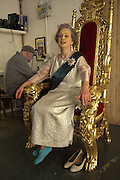 CORINNE AS THE QUEEN, filming for Sly and Reggie ' Dub Save the Queen. Moorish Rd. London Sw2. 5 April 2012.