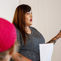 Talking about the importance of the word asdzáán Tuesday evening, Hannah Manuelito begins to tear up at ART123 Gallery during her last artist-in-residence talk on July 17, 2018 in Downtown Gallup, NM.