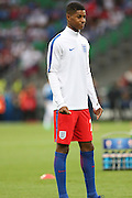 England Forward Marcus Rashford in warm up during the Euro 2016 Group B match between Slovakia and England at Stade Geoffroy Guichard, Saint-Etienne, France on 20 June 2016. Photo by Phil Duncan.