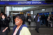 Scene at Stratford Underground Station in East London. This is a relatively poor area of London, but in recent years has seen much regeneration, the construction of a major transport hub and various shopping complexes. Stratford is adjacent to the London Olympic Park and is currently experiencing regeneration and expansion linked to the 2012 Summer Olympics. (Photo by Mike Kemp/For The Washington Post)