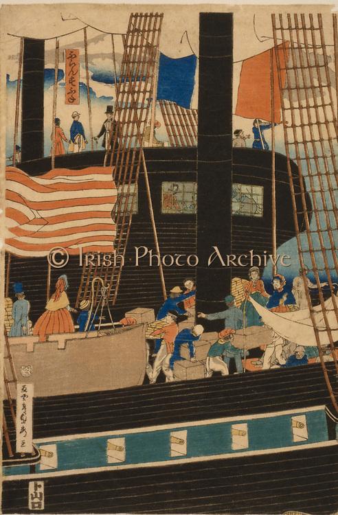 Unloading  an American ship in Yokohama harbour, Japan, 1861. Utagawa Sadahide (1807-1878/79) Japanese Ukiyo-e artist. United States  Flag Rigging Bustle European Commerce Trade