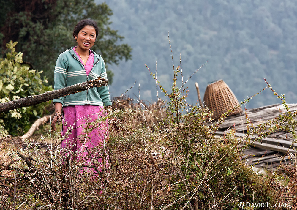 A woman working in her garden in Melamchi Ghyang.