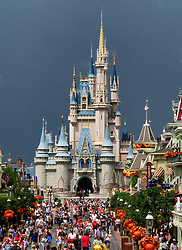 The skies darken shortly before the Magic Kingdom at Walt Disney World in Lake Buena Vista, Fla., closed early due to weather spawned by Hurricane Dorian,, Tuesday, September 3, 2019. Photo by Joe Burbank/Orlando Sentinel/TNS/ABACAPRESS.COM