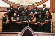 """ATLANTA, GA - MAY 13:  Gospel singers sing """"We Shall Overcome"""" before the Baseball and the Civil Rights Movement Roundtable panel at Ebenezer Baptist Church on May 13, 2011 in Atlanta, Georgia.  (Photo by Mike Zarrilli/Getty Images)"""