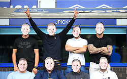 """Friends of Everton goalkeeper Jordan Pickford show their support during the Premier League match at Goodison Park, Liverpool. PRESS ASSOCIATION Photo. Picture date: Saturday August 18, 2018. See PA story SOCCER Everton. Photo credit should read: Peter Byrne/PA Wire. RESTRICTIONS: EDITORIAL USE ONLY No use with unauthorised audio, video, data, fixture lists, club/league logos or """"live"""" services. Online in-match use limited to 120 images, no video emulation. No use in betting, games or single club/league/player publications."""