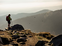 Women watching at birds in forest on mountains edge,  Hohneck, Vosges, France