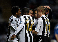 Photo: Jed Wee.<br /> Newcastle United v Portsmouth. Carling Cup. 25/10/2006.<br /> <br /> Newcastle celebrate with goalscorer Nolberto Solano.