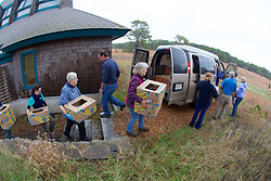 Judith Rhome And Other Volunteers Transporting Stranding Sea Turtles In Boxes, Welfleet Bay Wildlife Sanctuary, Audubon