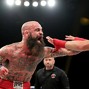 DAYTONA BEACH, FL - SEPTEMBER 11: Jacob Brunelle punches Rusty Crowder during the Bare Knuckle Fighting Championships at the Ocean Center on September 11, 2020 in Daytona Beach, Florida. (Photo by Alex Menendez/Getty Images) *** Local Caption *** Jacob Brunelle; Rusty Crowder