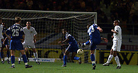 Fotball, Troyes' David Hamed fires in the second from a free kick deflected by Leeds' Dominic Matteo.