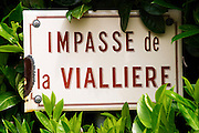 street sign impasse vialliere domaine bonserine ampuis rhone france