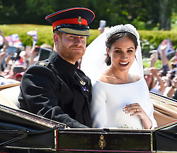 Prince Harry & Meghan Markle are Married at St Georges Chapel in Windsor, The Royal Carriage makes its way up the Long Walk towards Windsor Castle. 19 May 2018 Pictured: Prince Harry , Meghan Markle, Duke & Duchess Of Sussex. Photo credit: Neil Warner/MEGA TheMegaAgency.com +1 888 505 6342