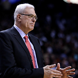 March 10, 2011; Miami, FL, USA; Los Angeles Lakers head coach Phil Jackson against the Miami Heat during the second quarter at the American Airlines Arena.  Mandatory Credit: Derick E. Hingle