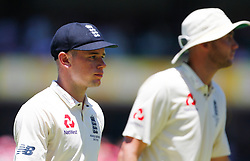 England'sMason Crane after being denied his first test wicket after bowling a no ball during day two of the Ashes Test match at Sydney Cricket Ground.