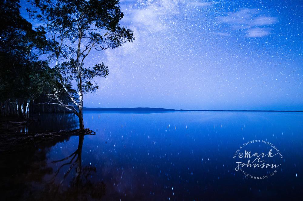 Starry skies reflected in Lake Cootharaba, Elanda Point, Queensland, Australia