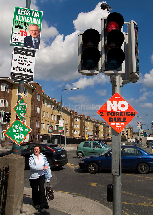 "Editorial Use Only: Red light for Lisbon Treaty at Ballybough, Dublin. Poster calling for a no against ""foreign rule"". Former Taoiseach (Prime Minister) Bertie Ahern looks on from another poster, calling for a ""yes"". The vote takes places on 12 June 2008. As of June 6th, the no-vote was reportedly overtaking the yes campaign..."