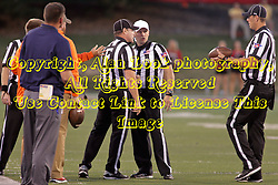 02 September 2017:   Near the Bulldog sidelines, Steve Gfell, Matt Packowski and Paul Janus discuss a call during the Butler Bulldogs at  Illinois State Redbirds Football game at Hancock Stadium in Normal IL (Photo by Alan Look)