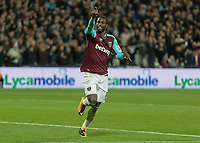 Football - 2017 / 2018 Premier League - West Ham United Vs Huddersfield Town<br /> <br /> Pedro Obiang (West Ham United)  turns away in celebration after opening the scoring at the London Stadium<br /> <br /> COLORSPORT/DANIEL BEARHAM