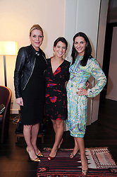 Left to right, ALICE KODELL, GIA DE PICCIOTTO and CARMEN HAID at a private view of Atelier-Mayer.com's collection held at 131 Oakwood Court, London, on 24th November 2009.