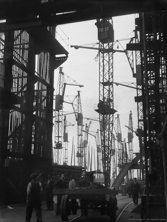 Silhouetted Cranes, Cunard Lines, England, 1934